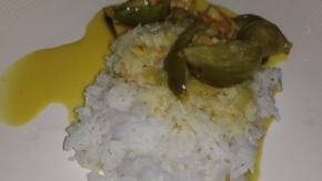 Grünes Curry mit Auberginen (selber gekocht)