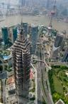 Der Blick vom World Financial Center (Flaschenöffner) auf den Jin Mao Tower. Dort befindet sich auch das Grand Hyatt Shanghai (alleine die Lobby ist 32 Stockwerke hoch!)