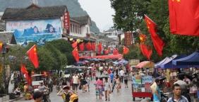 Überall ist für das Chinesische Moonfest geschmückt. Chinesen lieben die Farbe Rot.