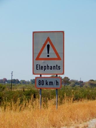 Das erste Schild in Botswana. Zäune gibt es hier grundsätzlich keine. Nur Veterinärszäune durch das ganze Land um die Maul und Klauenseuche abzuhalten. Jagen ist übrigens im ganzen Land verboten.