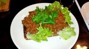 Hühnerleber Piri Piri auf Brot.