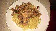 Spaghetti mit Pilzsauce geht immer.