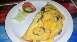 Omelette mit Pilzen.